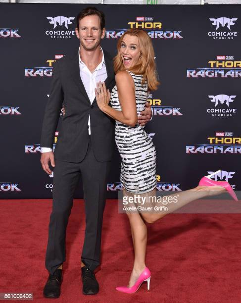 Actors Kip Pardue and Annie Wersching arrive at the premiere of Disney and Marvel's 'Thor Ragnarok' at the El Capitan Theatre on October 10 2017 in...