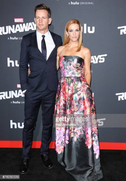 Actors Kip Pardue and Annie Wersching attend the premiere of Hulu's 'Marvel's Runaways' at The Regency Bruin Theatre on November 16 2017 in Los...