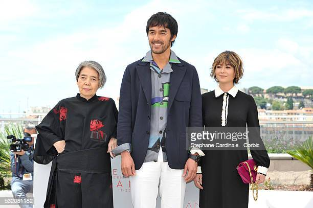 Actors Kirin Kiki Hiroshi Abe and Yoko Maki attend the After The Storm photocall during the 69th Annual Cannes Film Festival at the Palais des...
