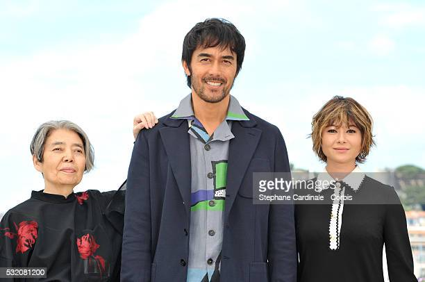 Actors Kirin Kiki Hiroshi Abe and Yoko Maki attend the 'After The Storm' photocall during the 69th Annual Cannes Film Festival at the Palais des...