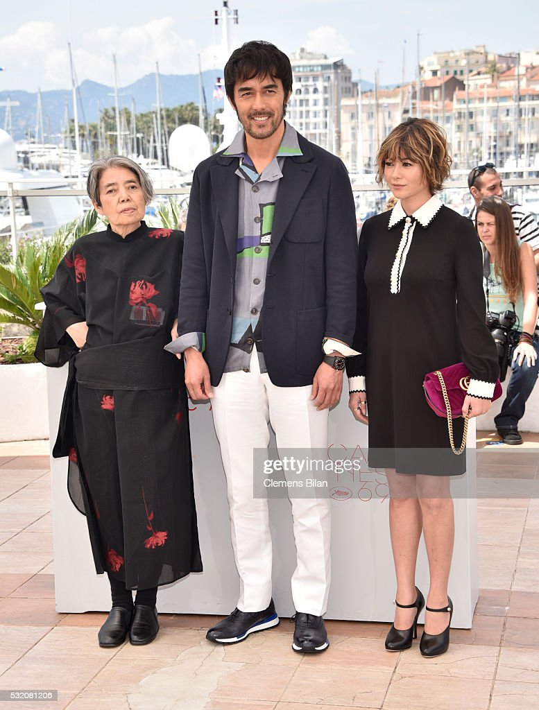 Actors Kirin Kiki, Hiroshi Abe and Yoko Maki attend the 'After The Storm' photocall during the 69th Annual Cannes Film Festival at the Palais des Festivals on May 18, 2016 in Cannes, France.