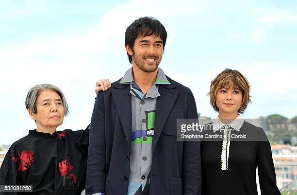 """Actors Kirin Kiki, Hiroshi Abe and Yoko Maki attend the """"After The Storm"""" photocall during the 69th Annual Cannes Film Festival at the Palais des..."""