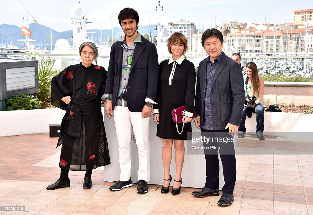 Actors Kirin Kiki, Hiroshi Abe, Yoko Maki and director Hirokazu Koreeda attend the 'After The Storm' photocall during the 69th Annual Cannes Film Festival at the Palais des Festivals on May 18, 2016 in Cannes, France.