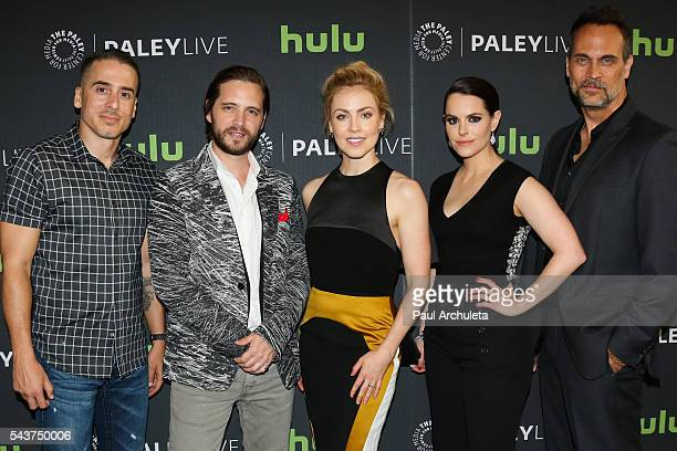Actors Kirk Acevedo Aaron Stanford Amanda Schull Emily Hampshire and Todd Stashwick attend PaleyLive LA's screening of 12 Monkeys at The Paley Center...