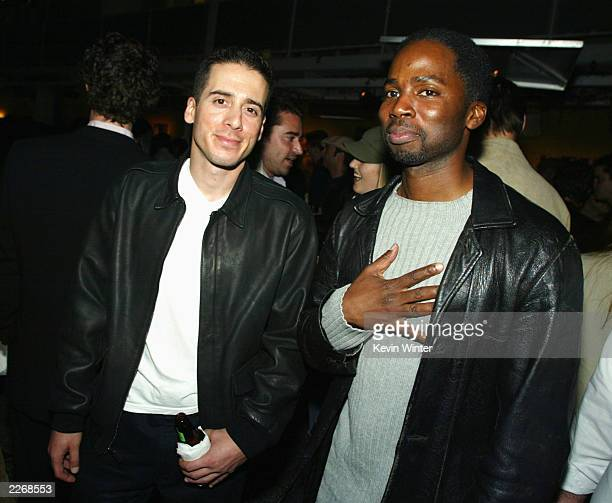 Actors Kirk Acevedo and Harold Perrineau from the television show Oz pose at Details Magazine's party to celebrate their Next Big Thing issue at the...
