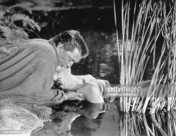 "Actors Kirk Douglas and Jean Simmons on the set of the 1960 film ""Spartacus""."