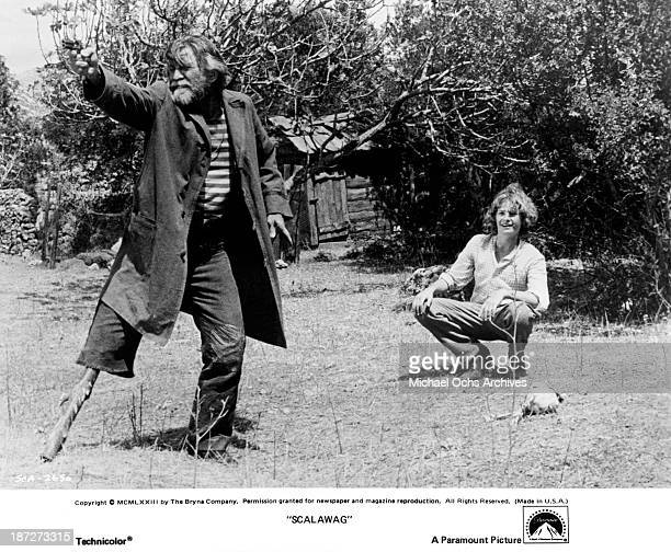Actors Kirk Douglas and Mark Lester on set of the Paramount Pictures movie Scalawag in 1973