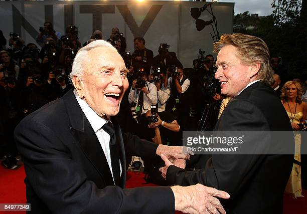 Actors Kirk Douglas and Michael Douglas attend the 2009 Vanity Fair Oscar party hosted by Graydon Carter at the Sunset Tower Hotel on February 22...