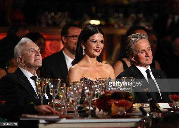 Actors Kirk Douglas Catherine ZetaJones and Michael Douglas in the audience during the AFI Lifetime Achievement Award A Tribute to Michael Douglas...