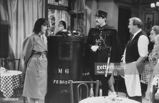 Actors Kirsten Cooke Arthur Bostrom Gordon Kaye Carmen Silvera and Sue Hodge in a scene from episode 'Going Like a Bomb' of the television sitcom...