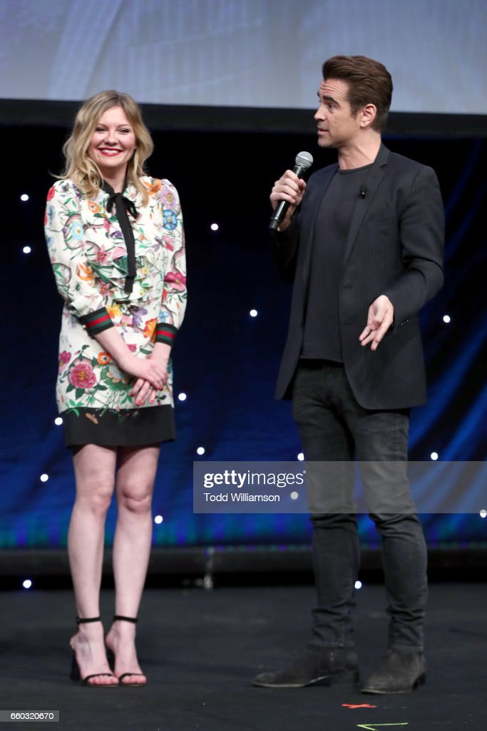 Actors Kirsten Dunst (L) and Colin Farrell speak osntage at CinemaCon 2017- Focus Features: Celebrating 15 Years and a Bright Future at Caesars Palace during CinemaCon, the official convention of the National Association of Theatre Owners, on March 29, 2017 in Las Vegas Nevada.