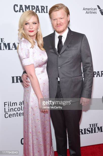 """Actors Kirsten Dunst and Jesse Plemons attend """"The Irishman"""" screening during the 57th New York Film Festival at Alice Tully Hall, Lincoln Center on..."""