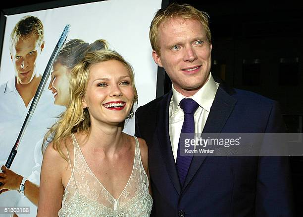 Actors Kirsten Dunst and Paul Bettany attend the world premiere of the Universal Feature Wimbledon at the Academy of Motion Pictures Arts and...