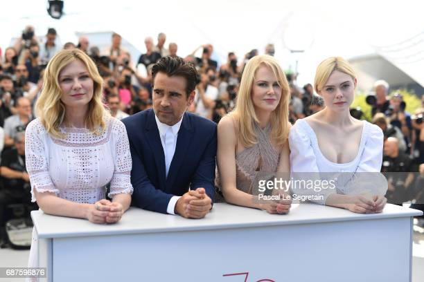 """Actors Kirsten Dunst, Colin Farrell, Nicole Kidman and Elle Fanning attend """"The Beguiled"""" photocall during the 70th annual Cannes Film Festival at..."""