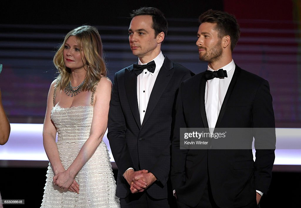 Actors Kirsten Dunst, Jim Parsons and Glen Powell of 'Hidden Figures' accept Outstanding Performance by a Cast in a Motion Picture onstage during The 23rd Annual Screen Actors Guild Awards at The Shrine Auditorium on January 29, 2017 in Los Angeles, California. 26592_014