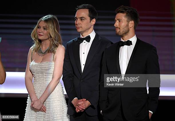 Actors Kirsten Dunst Jim Parsons and Glen Powell of 'Hidden Figures' accept Outstanding Performance by a Cast in a Motion Picture onstage during The...