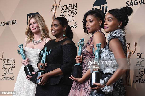 Actors Kirsten Dunst, Octavia Spencer, Taraji P. Henson and Janelle Monae, winners of the Outstanding Cast in a Motion Picture award for 'Hidden...