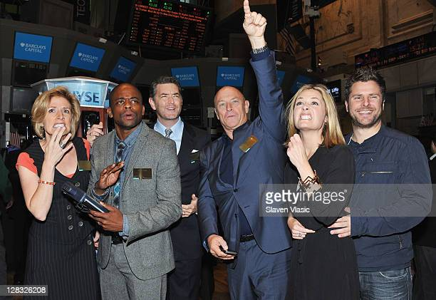 Actors Kirsten Nelson Dule Hill Timothy Omundson Corbin Bernsen Maggie Lawson and James Roday from the cast of Psych visit the New York Stock...