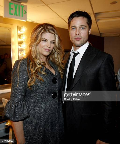Actors Kirstie Alley and Brad Pitt pose during the 11th Annual Hollywood Awards held at the Beverly Hilton Hotel on October 22 2007 in Los Angeles...