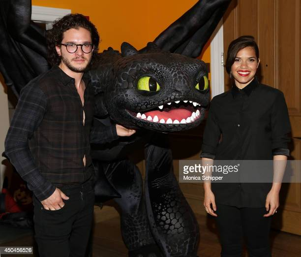 Actors Kit Harington and America Ferrera attend the DreamWorks Animation 20th Century Fox screening of 'How To Train Your Dragon 2' at Crosby Street...