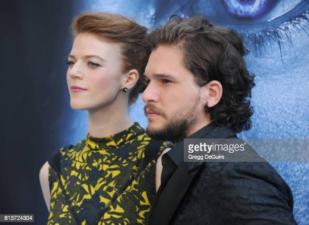 Actors Kit Harington and Rose Leslie arrive at the premiere of HBO's Game Of Thrones Season 7 at Walt Disney Concert Hall on July 12 2017 in Los...