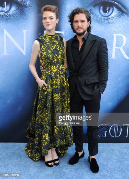 Actors Kit Harington and Rose Leslie arrive at the premiere of HBO's 'Game Of Thrones' Season 7 at Walt Disney Concert Hall on July 12 2017 in Los...