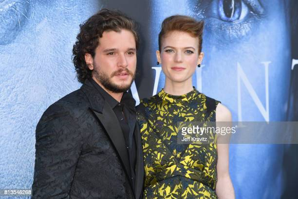 Actors Kit Harington and Rose Leslie at the Los Angeles Premiere for the seventh season of HBO's Game Of Thrones at Walt Disney Concert Hall on July...