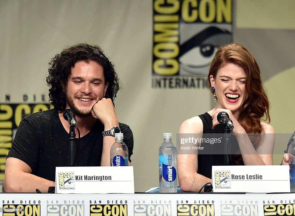 Actors Kit Harington (L) and Rose Leslie attend HBO's 'Game Of Thrones' panel and Q&A during Comic-Con International 2014 at San Diego Convention Center on July 25, 2014 in San Diego, California.