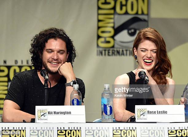 Actors Kit Harington and Rose Leslie attend HBO's 'Game Of Thrones' panel and QA during ComicCon International 2014 at San Diego Convention Center on...