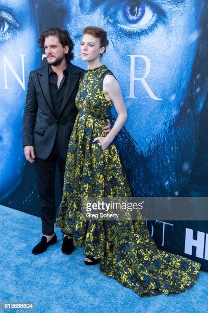 Actors Kit Harington and Rose Leslie attend the Premiere Of HBO's Game Of Thrones Season 7 at Walt Disney Concert Hall on July 12 2017 in Los Angeles...