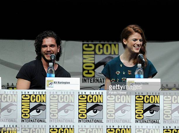 Actors Kit Harington and Rose Leslie speak onstage during the 'Game Of Thrones' panel during ComicCon International 2013 at San Diego Convention...
