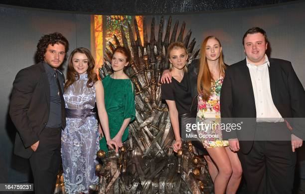 Actors Kit Harington Maisie Williams Rose Leslie Natalie Dormer Sophie Turner and John Bradley attend 'Game Of Thrones' The Exhibition New York...