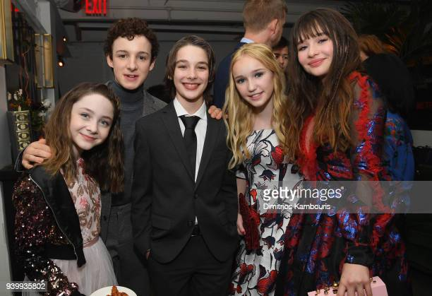 Actors Kitana Turnbull Louis Hynes Dylan Kingwell Avi Lake and Malina Weissman attend the Netflix Premiere of A Series of Unfortunate Events Season 2...