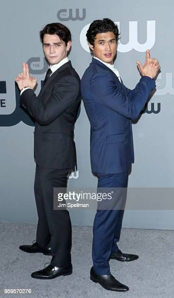 Actors KJ Apa and Charles Melton attend the 2018 CW Network Upfront at The London Hotel on May 17, 2018 in New York City.