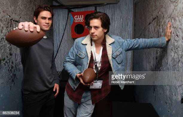 Actors KJ Apa and Cole Sprouse attend BuzzFeed and The CW's Riverdale Presents Pep Rally on March 11 2017 in Austin Texas