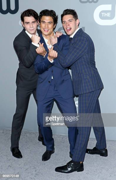 Actors KJ Apa Charles Melton and Casey Cott attend the 2018 CW Network Upfront at The London Hotel on May 17 2018 in New York City