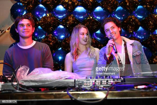 Actors KJ Apa Kelsey Darragh and Cole Sprouse attend BuzzFeed and The CW's Riverdale Presents Pep Rally on March 11 2017 in Austin Texas