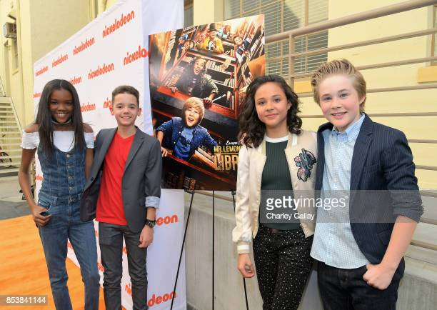 Actors Klarke Pipkin AJ Luis Rivera Jr Breanna Yde and Casey Simpson at Nickelodeon's 'Escape From Mr Lemoncello's Library' premiere event at...