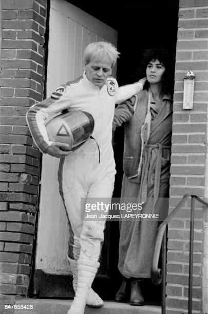 Actors Klaus Kinski and Maria Schneider on set of movie Haine directed by Dominique Goult on March 23 1979 in Paris France