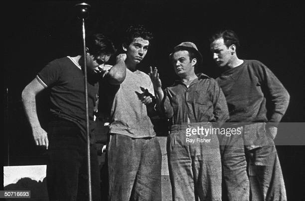 Actors known as the Dead End Kids on stage at the Strand Theater Bernard Punsley Gabrial Dell Leo Gorcey and Huntz Hall