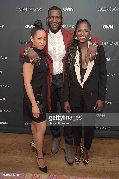 Actors Kofi Siriboe DawnLyen Gardner and Rutina Wesley attend OWN's private New York screening of 'Queen Sugar' at Crosby Street Hotel on September 1...