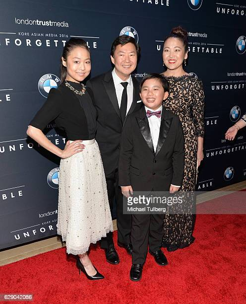 Actors Krista Marie Yu Ken Jeong Albert Tsai and Suzy Nakamura attend the 15th Annual Unforgettable Gala at The Beverly Hilton Hotel on December 10...