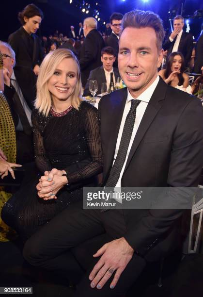 Actors Kristen Bell and Dax Shepard attend the 24th Annual Screen Actors Guild Awards at The Shrine Auditorium on January 21 2018 in Los Angeles...