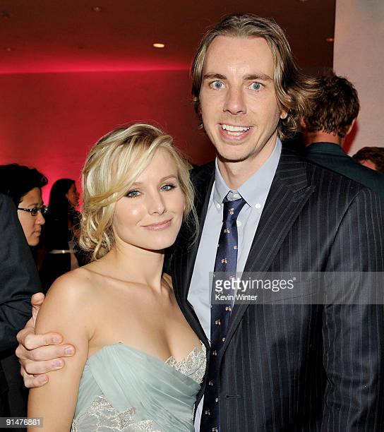 Actors Kristen Bell and Dax Shepard pose at the afterparty for the premiere of Universal Pictures' Couples Retreat at the Hammer Museum on October 5...
