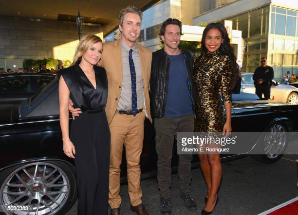 Actors Kristen Bell Dax Shepard Bradley Cooper and Joy Bryant arrive to the premiere of Open Road Films' Hit and Run on August 14 2012 in Los Angeles...
