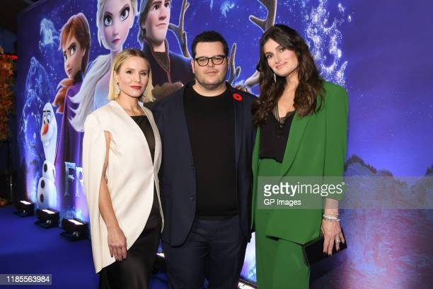 Actors Kristen Bell, Josh Gad and Idina Menzel attend the 'Frozen 2' Fan Event held at Scotiabank Theatre on November 04, 2019 in Toronto, Canada.