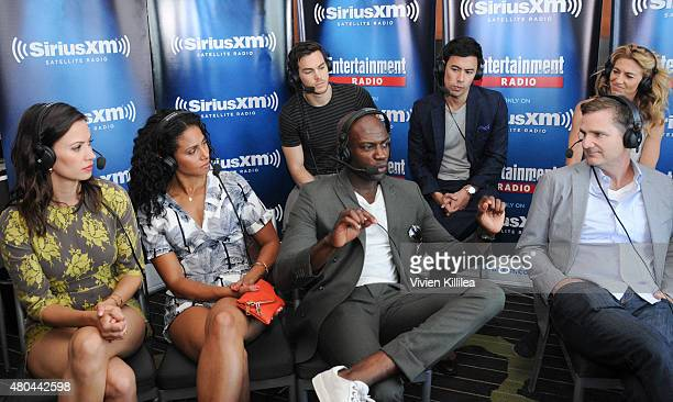 Actors Kristen Gutoskie Christina Marie Moses Chris Wood David Gyasi George Young and Claudia Black and writer Chris Ord attend SiriusXM's...