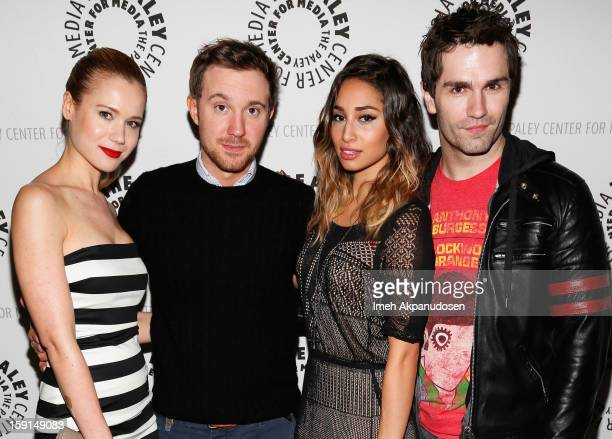 Actors Kristen Hager Sam Huntington Meaghan Rath and Sam Witwer attend an evening with Syfy's Being Human'' at The Paley Center for Media on January...