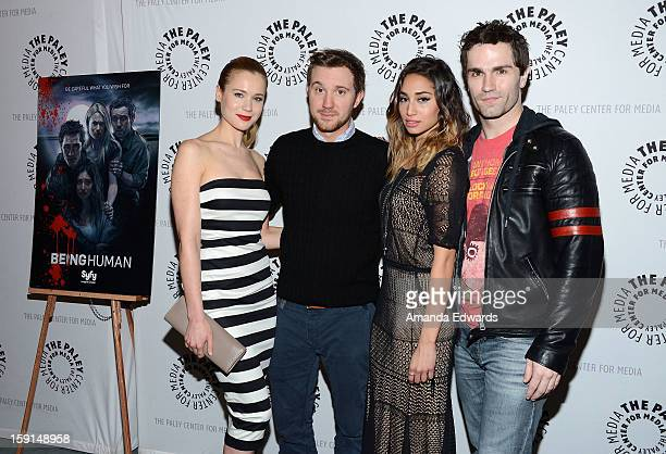 Actors Kristen Hager Sam Huntington Meaghan Rath and Sam Witwer arrive at The Paley Center for Media presents an evening with Syfy's Being Human...