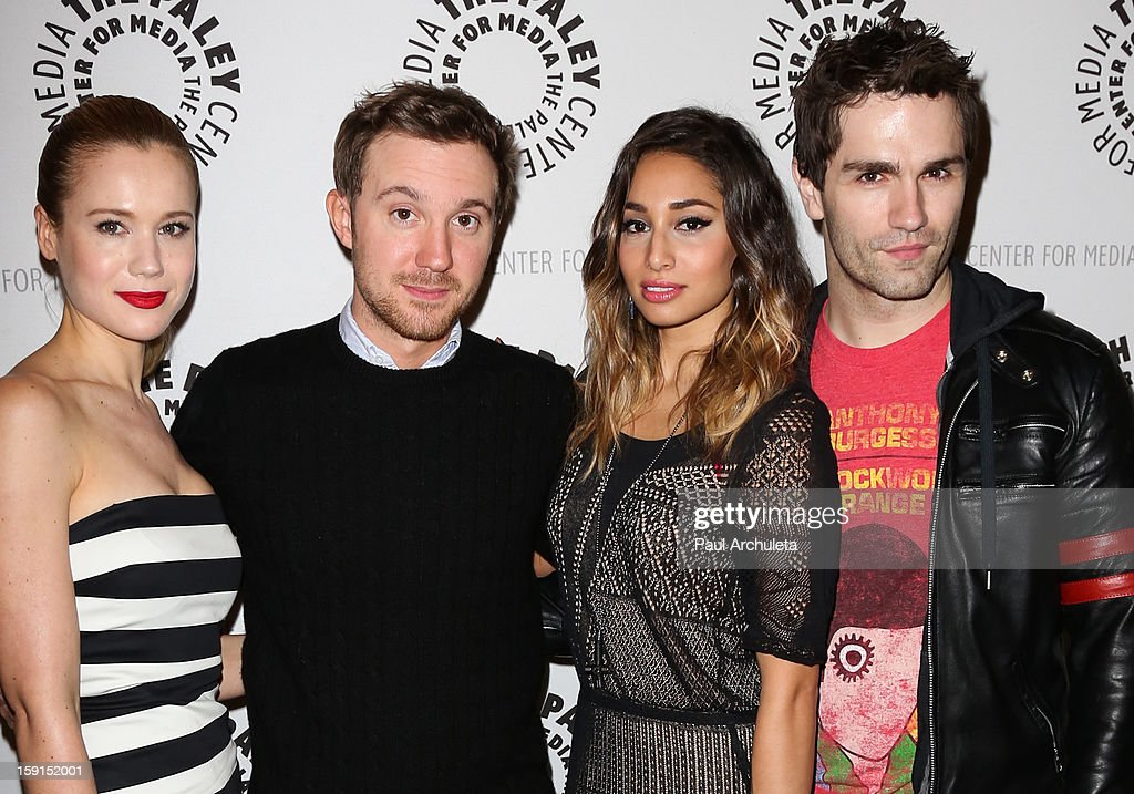Actors Kristen Hager, Sam Huntington, Meaghan Rath and Sam Witwer attend the premiere screening and panel discussion of Syfy's 'Being Human' season 3 at The Paley Center for Media on January 8, 2013 in Beverly Hills, California.